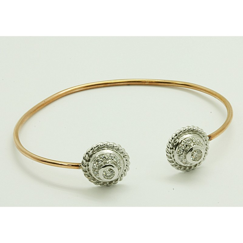 LADIES 14K WG+ PINK  GOLD  BANGLE BRACELET w/26-ROUND DIAMONDS @ 0.73CT TOTAL WEIGHT