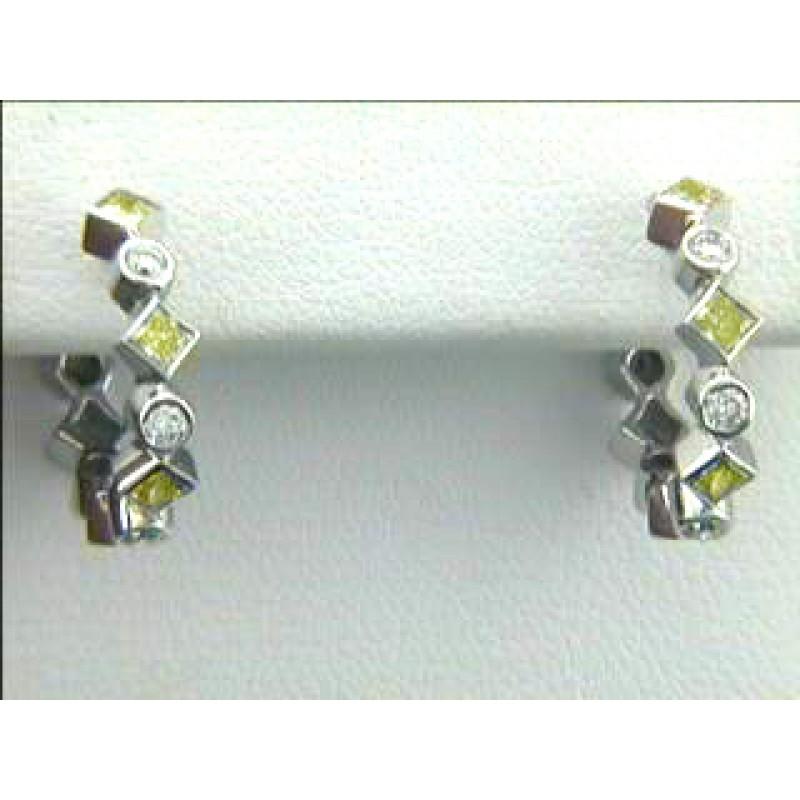EARRINGS 18K WG w/0.38CT FANCY YELLOW + 0.21CT WHITE DIAMONDS
