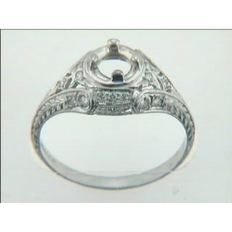 ENGAGEMENT  PLATINUM w/0.15CTS DIAMONDS ANTIQUE