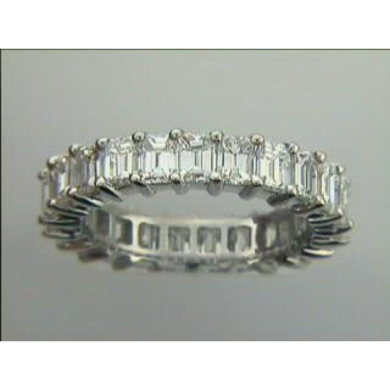 "WEDDING PLATINUM  w/4.78cts  ETERNITY w/EMERALD  CUT DIAMONDS ""SPECIAL ORDER"""
