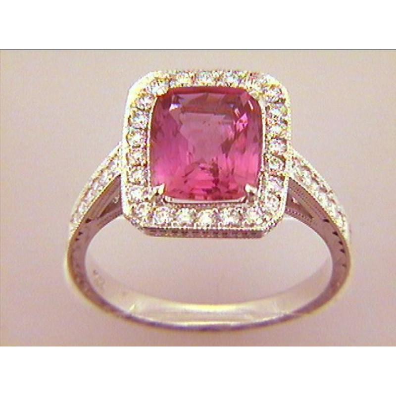 """RING  18K w/0.47CT DIAM'S+3.30CT PINK SAPPHIRE """"SPECIAL ORDER"""""""