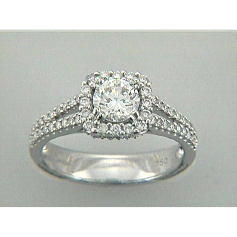 LADIES RING 18K w/0.48CT DIAMONDS (center extra)