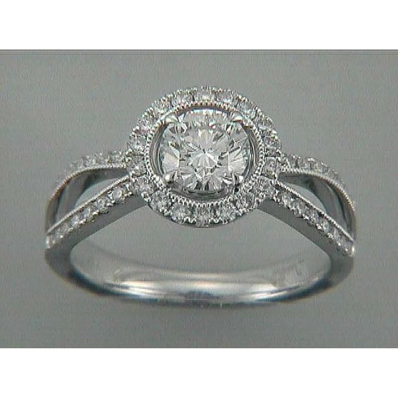 ENG. RING 18K w/0.59CT DIAMONDS (center extra)