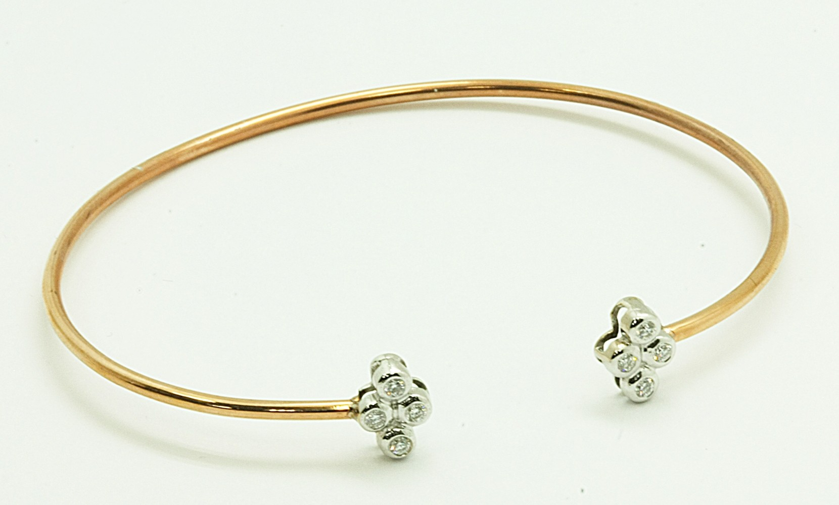 LADIES 18K WG + PINK GOLD w/8-DIAMONDS @ 0.22CT TOTAL WEIGHT