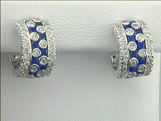 """EARRINGS 18K WG w/1.70CT DIAMONDS + 2..00CT SAPPHIRES """"CLOSE OUT"""""""