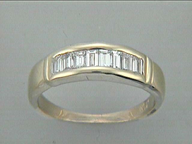 LADIES RING 14K YG w/0.75CT BAGUETTE DIAMONDS