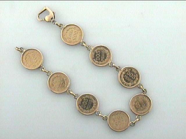 LADIES BRACELET 18K w/2-PESO COINS CASUAL