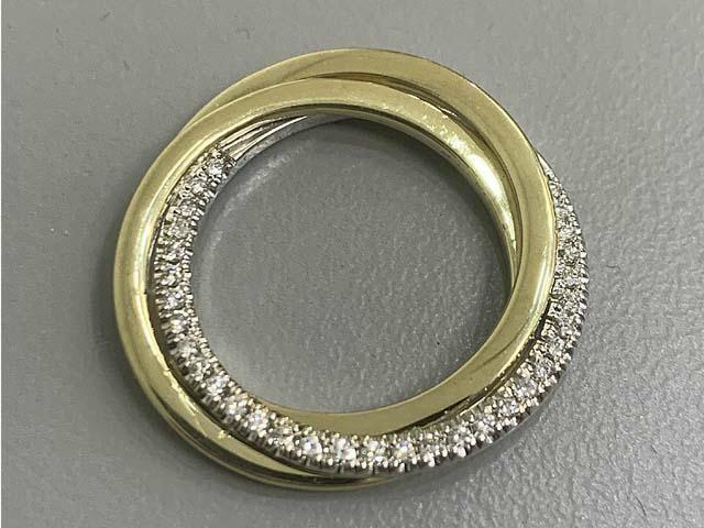 PENDANT 18K TRI-COLOR w/0.17CT DIAMONDS