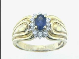 RING 14K w/0.18CT DIAM+0.68CT SAPH CLOSE-OUT