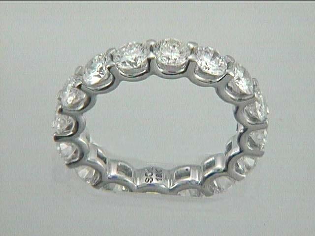 WEDDING 18K w/3.68CT ROUND ETERNITY DIAMOND