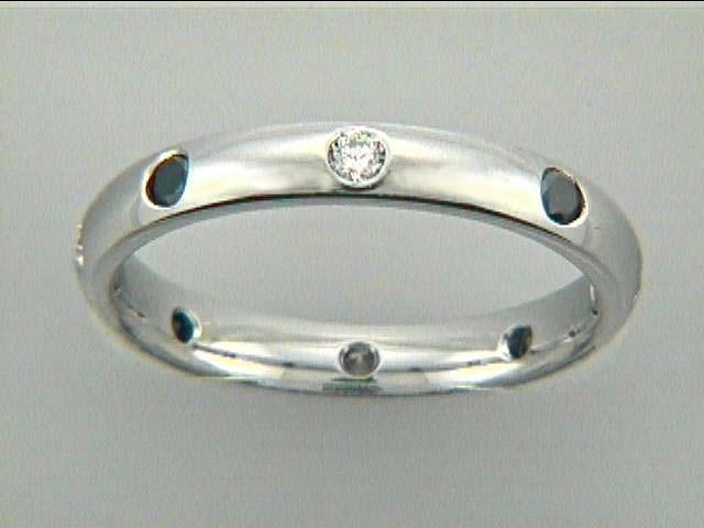 WEDDING 14K w/0.30CT WHITE+BLACK DIAMONDS