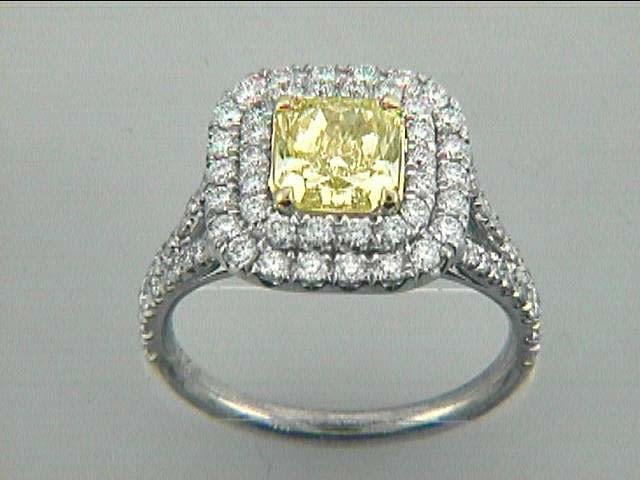 """RING 18K w/1.66CT FY/VS2 GIA + 0.94CT ROUNDS """"SPECIAL ORDER"""""""