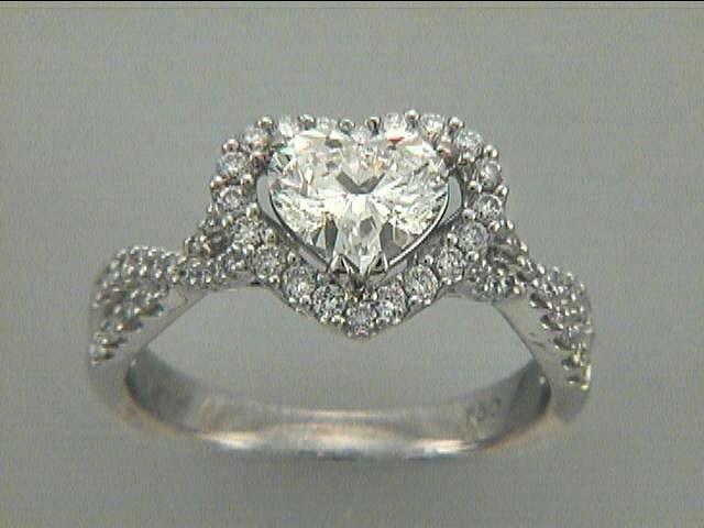 ENG. RING 18K w/0.42CT DIAMONDS (center extra)