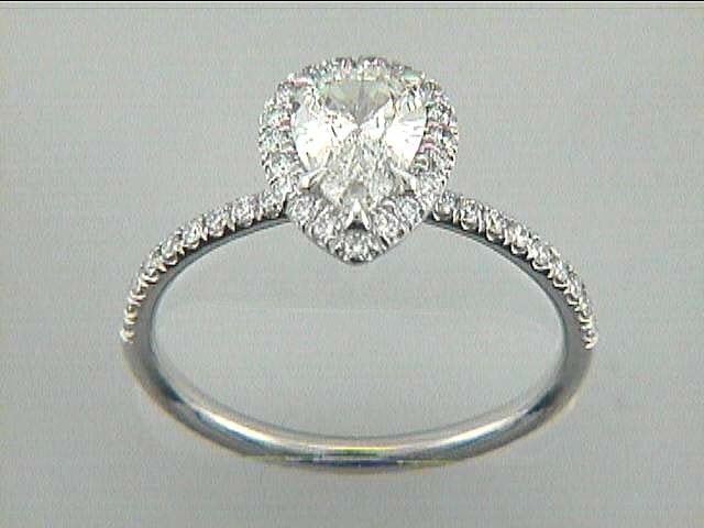 ENG. RING 18K WG w/0.35CT ROUNDS (center extra)