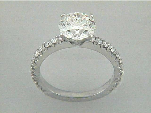 ENG. RING 18K WG w/0.43CT ROUNDS (center extra)