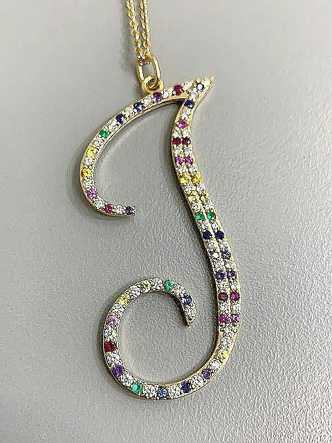 """PENDENT 14K YG 2"""" w/0.77CT DIAMOND+COLOR """"SPECIAL ORDER"""""""