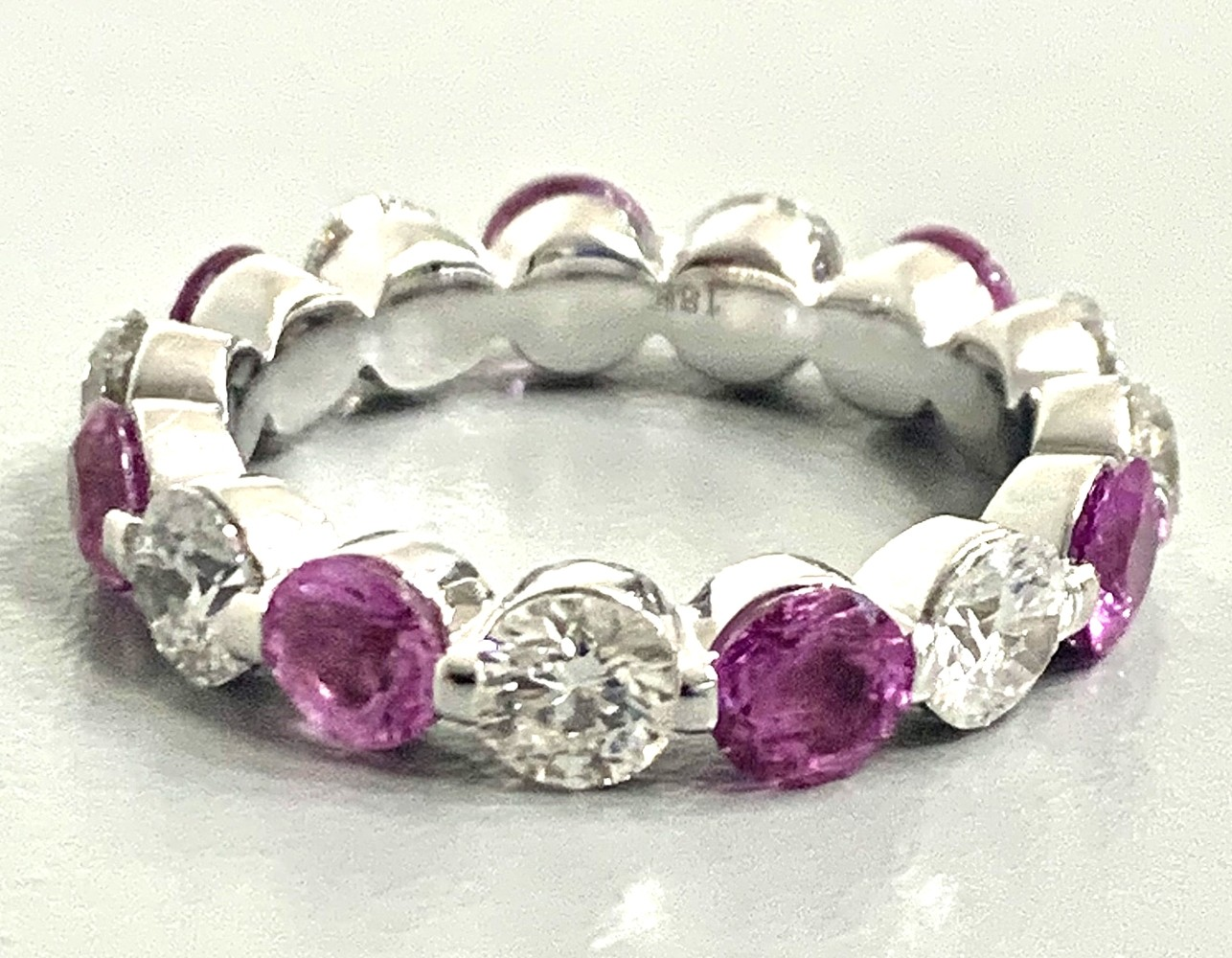 """WEDDING BAND 18K WG w/2.54CT DIAMONDS + 2.75CT PINK SAPPHIRES """"SPECIAL ORDER"""""""