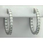 "EARRING 14K WG  w/2.43CT DIAMOND HOOPS ""SPECIAL ORDER"""