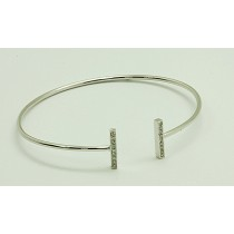 LADIES 14K WG BANGLE BRACELET w/18-DIAMONDS @ 0.18CT TOTAL WEIGHT