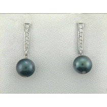 "EAR. 14K w/0.23CT DIAM+BLACK PEARLS ""CLOSE-OUT"""