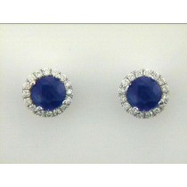 """EARRING 14K w/1.62CT SAPPHIRE+ 0.25CT DIAMONDS """"SPECIAL ORDER"""""""