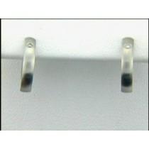 EARRING PLAT w/0.04CTS DIAMONDS HUGGIES