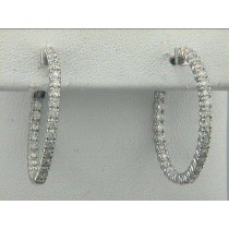 EARRING 14K WG w/1.41CT DIAMONDS K-COLOR SI3-CLARITY OVAL HOOP