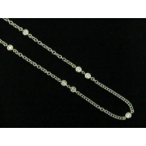 NECKLACE 14K w/3.40CTS DIAMONDS BY THE YARD 57""