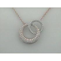NECKLACE 14K ROSE+WHITE w/1.68CT DIAMOND