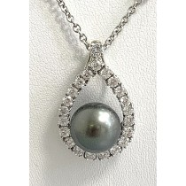 DIAMOND PENDANT 18K WG WITH 1.30CT DIAMONDS + BLACK SOUTH SEA PEARL 11 MM