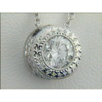 PENDANT 14K w/0.13CT DIAMONDS+ 1.22ct G/VS2 EGL