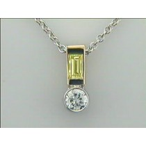 LADIES PENDANT 14K w/0.34ct G/SI2 DIAMOND + 0.27CT FANCY YELLOW BAGUETTE