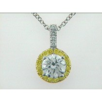 PENDANT 18K  w/0.71CT TLB CENTER DIAMOND+0.21CT FANCY YELLOW+0.05CT WHITE DIAMOND