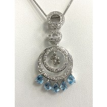 PENDANT 18K w/0.60CTS DIAMONDS+BLUE TOPAZ