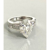 "RING 18K WG w/3.20 CT PEAR SHAPE DIAMOND G/SI1 ""GIA"" + 0.83CT SIDES ""SPECIAL ORDER"""