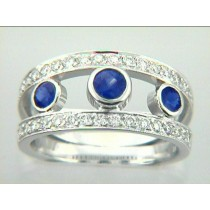 RING 18K w/0.54CTS DIAM+0.63CT SAPH  CLOSE-OUT