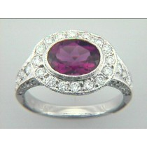 """RING  PLAT. w/1.05CTS  DIAM'S+1.69CT PK TOURM. """"SPECIAL ORDER"""""""