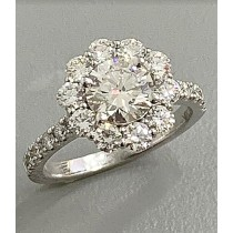 ENG. RING 18K w/1.09CT ROUNDS (center extra)