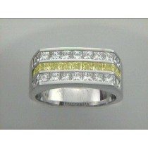 """GENT'S RING 18K WG w/3.47CT WHITE AND FANCY YELLOW DIAMONDS """"SPECIAL ORDER"""""""