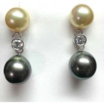 """EARRING 14K w/0.35CT LAB DIAMONDS+SOUTH SEA """"SPECIAL ORDER"""""""