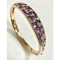 """LADIES BANGLE 14K ROSE GOLD WITH LAB DIAMONDS+AMETHYST """"SPECIAL ORDER"""""""