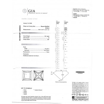 1.61 CT PRINCESS CUT DIAMOND G/SI1 GIA#14896840