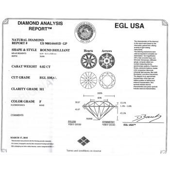 0.82 CT ROUND DIAMOND F/SI1 EGL#US900144601D