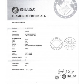 0.56 CT ROUND DIAMOND D/VS1 EGL#US907147401D