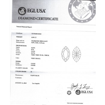 0.99 CT MARQUISE CUT DIAMOND H/VS2 EGL#US914031401D