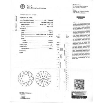 0.91 CT ROUND DIAMOND F/VS1 GIA#11250988
