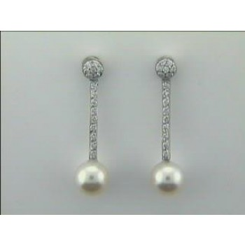 EARRING 18K w/0.30CTS DIAM+PEARLS CLOSE-OUT