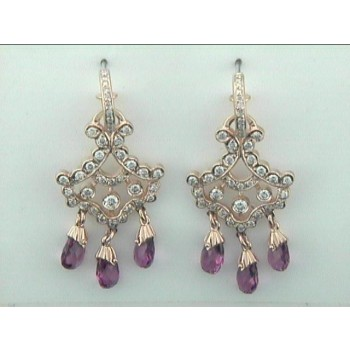 EARRINGS   18K WG w/1.37CTS DIAM'S+PK TOUR. CLOSE-OUT