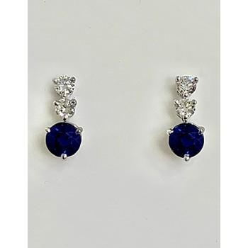 EARRINGS 14K WG w/0.18CT DIAMONDS + 1.01CT BLUE SAPPHIRES