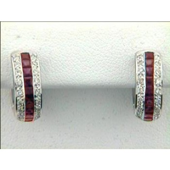 """EARRING  14K w/0.81CTS DIAM'S+ PINK SAPPHIRES HUGG """"SPECIAL ORDER"""""""